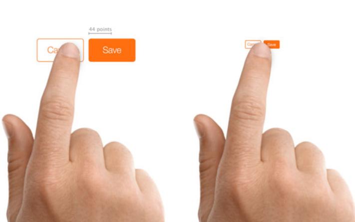 تناسب اندازه دکمه ها در اصول صفحه آرایی در وب