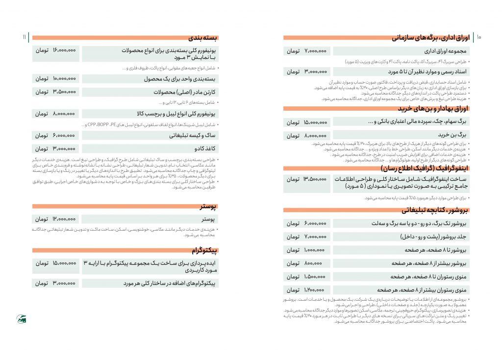 تعرفه رسمی طراحی گرافیک اوراق اداری، پوستر، بسته بندی