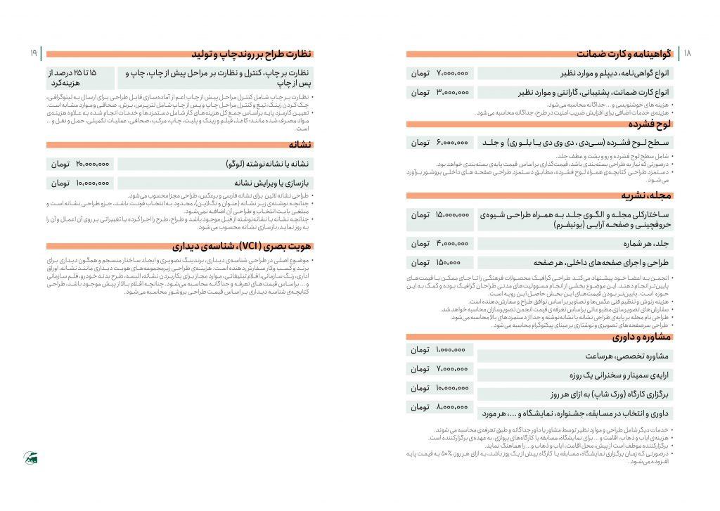 تعرفه رسمی طراحی نشان(لوگو) هویت بصری، مجله